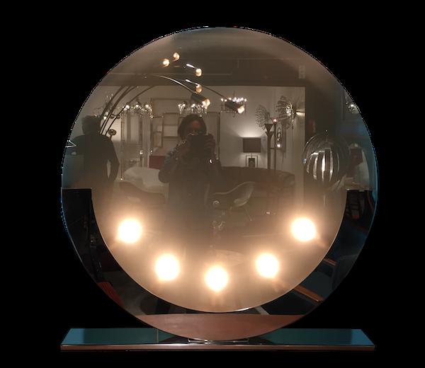 Grande lampe effet miroir socle acier chromé et verre design italien fin 1980