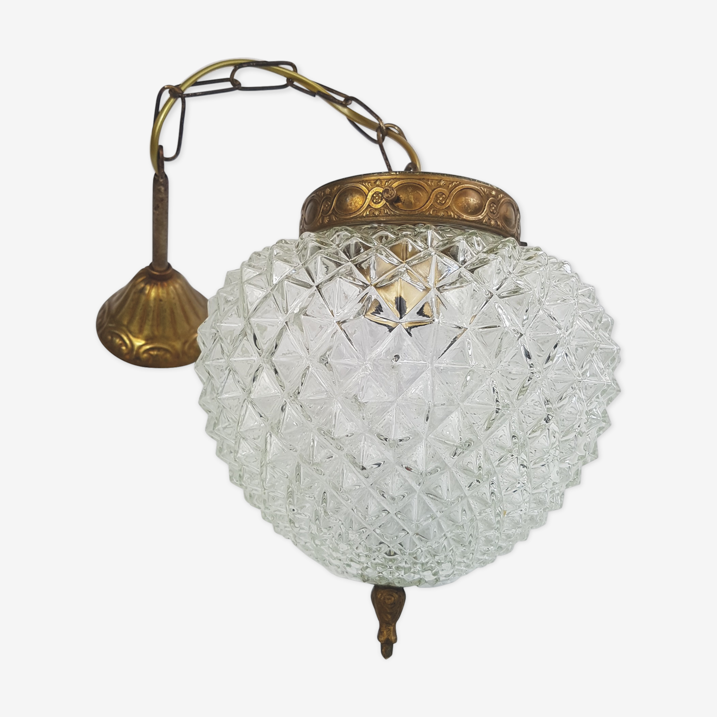 Hanging lamp glass and bronze