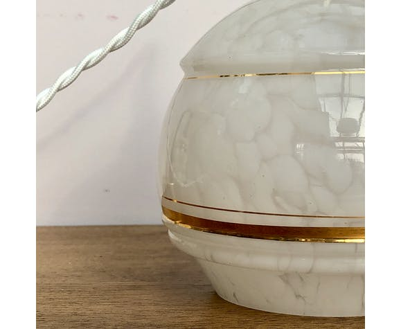 Baladeuse tulipe vintage en verre de Clichy blanc