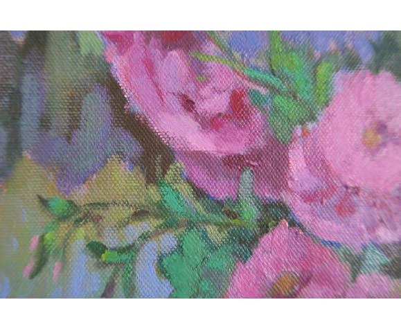 Oil on canvas of a bouquet of flowers by Espel Vives