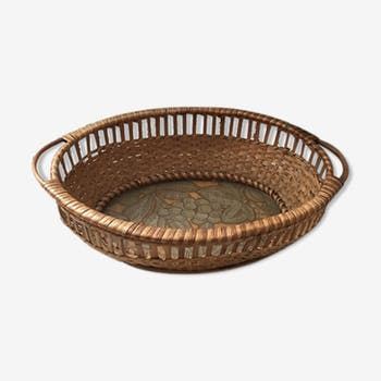 Wicker basket with bottom glass from the 50s 60s