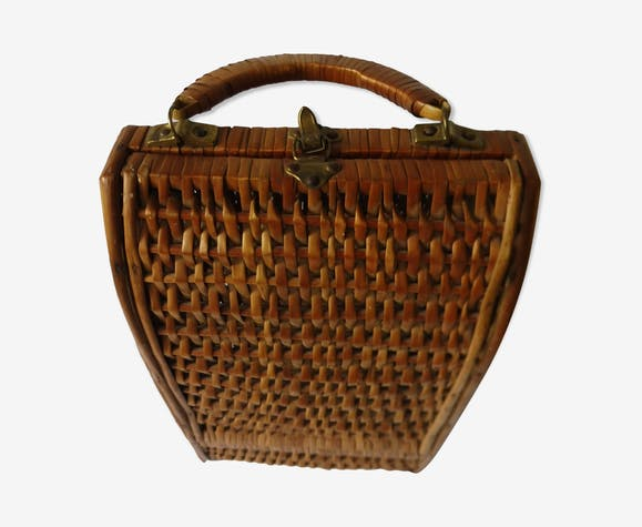 Vintage wicker bottle holder basket