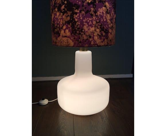 Mid-Century Pink & White Glass Floor Lamp