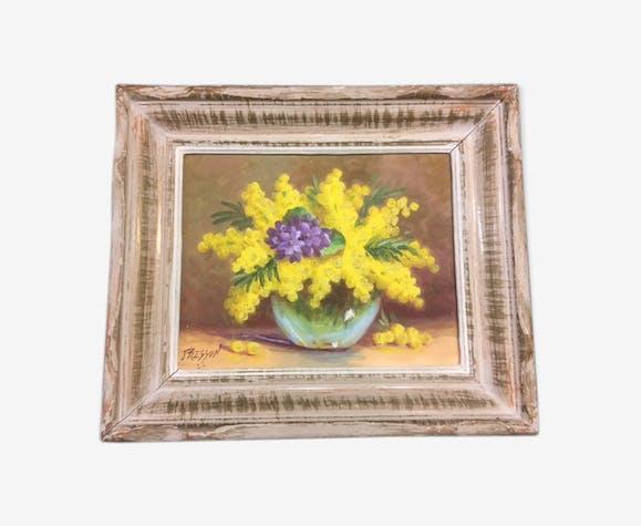 Huile sur carton nature morte le bouquet de mimosa signé vers 1950