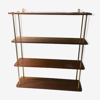 Wood and brass wall shelf - 60s