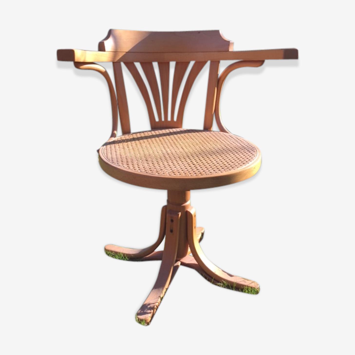 Fauteuil bistrot-bureau assise cannée