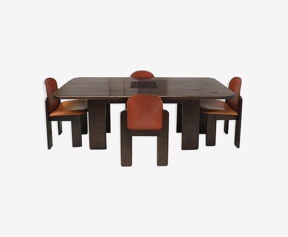 Set de salon en bois massif et en cuir 1970s - bois (Matériau ...