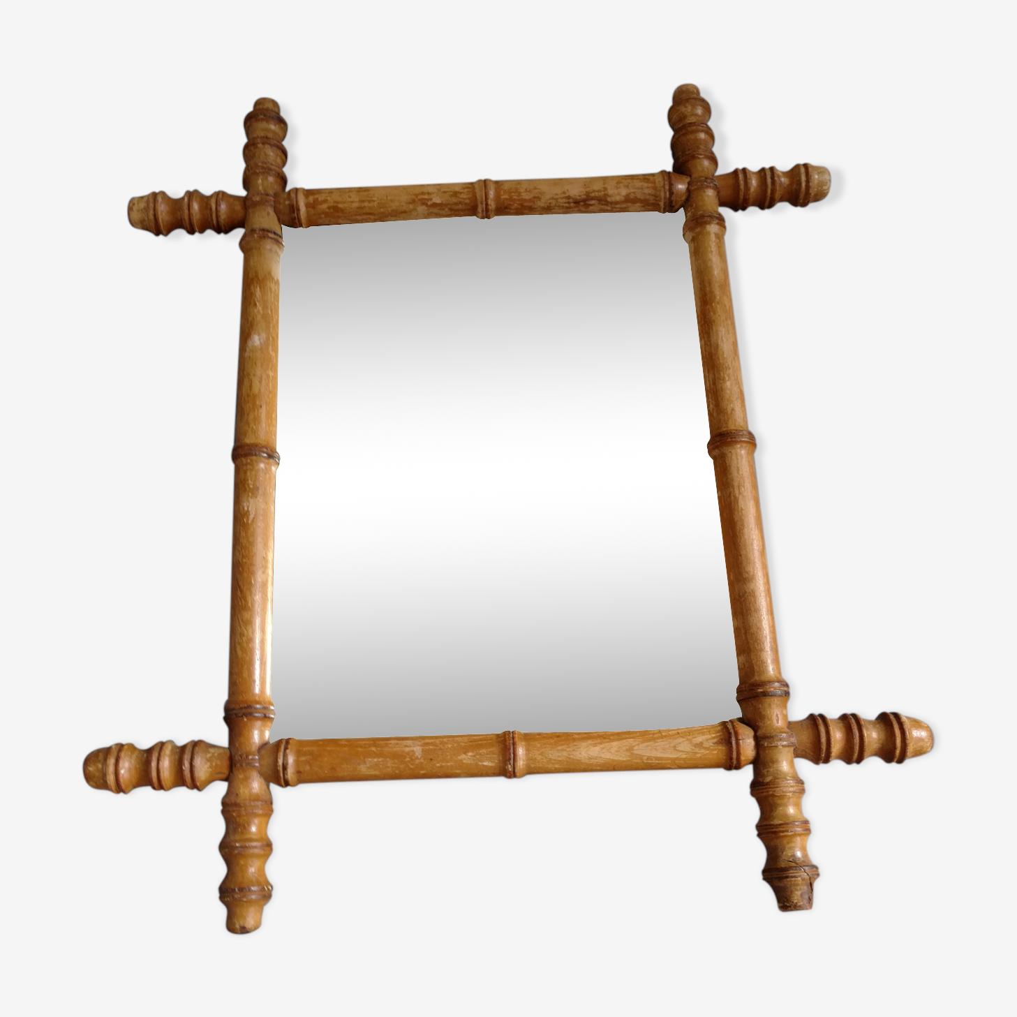 Miroir en bambou années 30 46x40cm