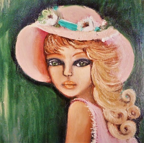 Painting portrait of young girl