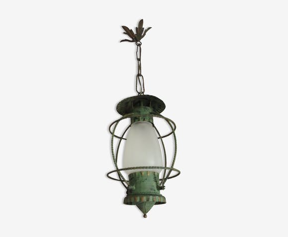 Lantern Hanging Lamp Vintage Green Effect Of Gray Painted