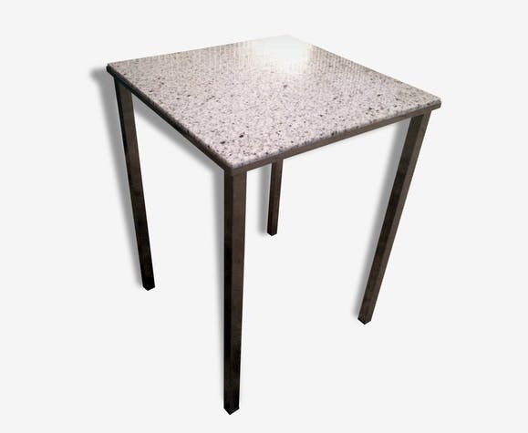 table d 39 appoint vintage plateau marbre pieds chrome m tal blanc vintage 34871. Black Bedroom Furniture Sets. Home Design Ideas