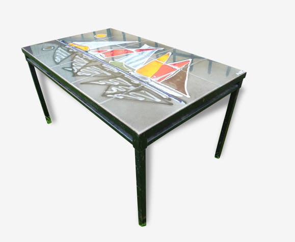 table basse c ramique color e bateaux ann es 70 c ramique porcelaine fa ence. Black Bedroom Furniture Sets. Home Design Ideas