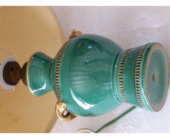 Lampe De Table De Chevet Base En Ceramique Emaillee Verte Et Abat