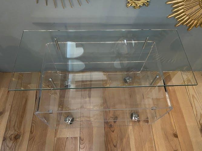 Meuble tv sur roulettes verre et altuglas design David Lange