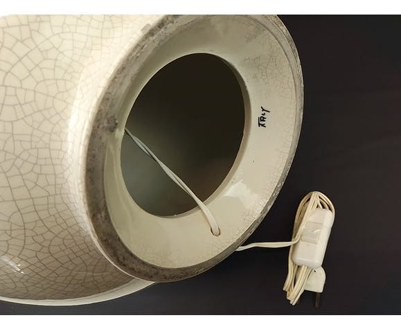 Pied de lampe céramique déco fleurs reliefs 56 cm