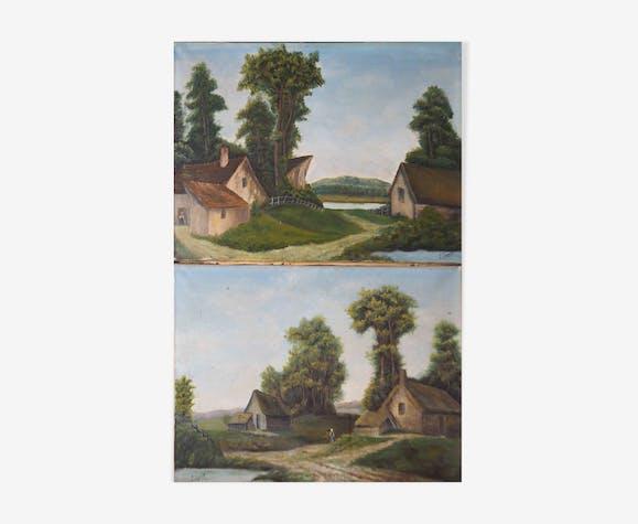 Paire de tableaux paysage école de Barbizon signés P. Duport - 1913