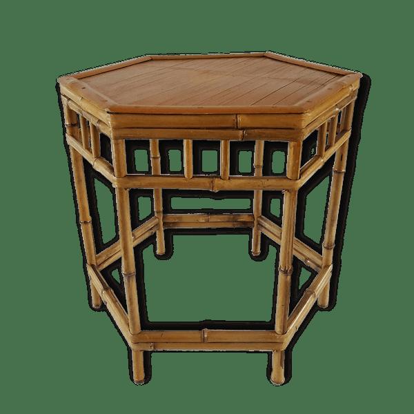 table hexagonale en bambou bois mat riau bois couleur classique 151102. Black Bedroom Furniture Sets. Home Design Ideas