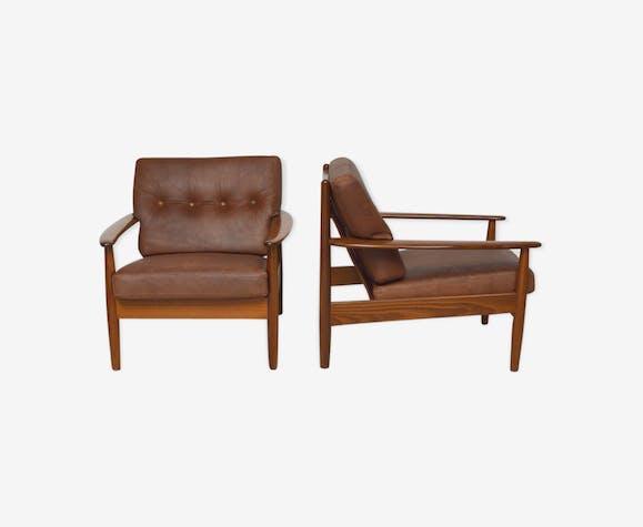 Paire de fauteuils danois en teck et cuir, 1960