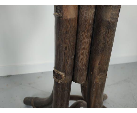 Porte manteau vintage rotin et bambou