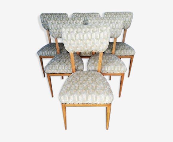 6 chaises bois massif 1940/50