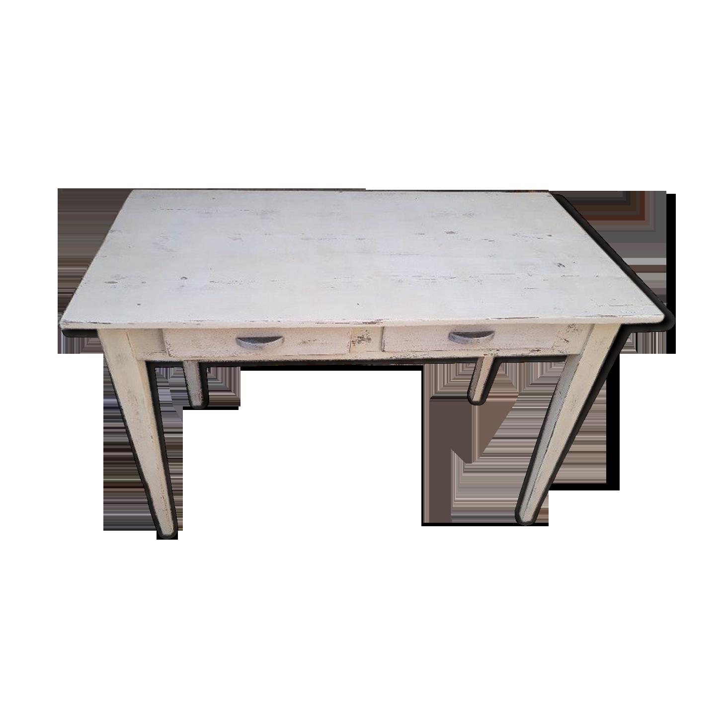 Table de ferme bois matériau blanc vintage k bt c