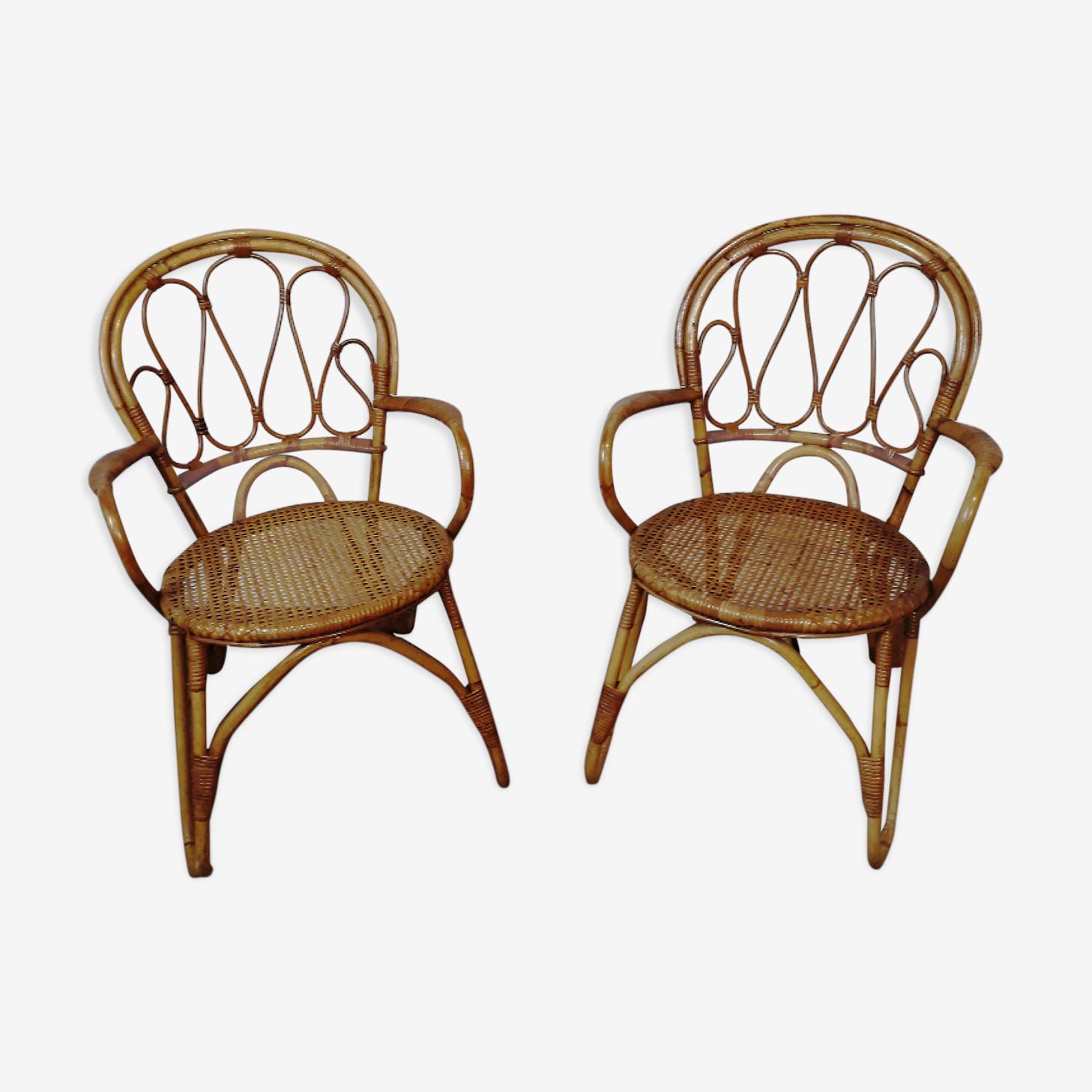 Paire  de chaises rotin vintage