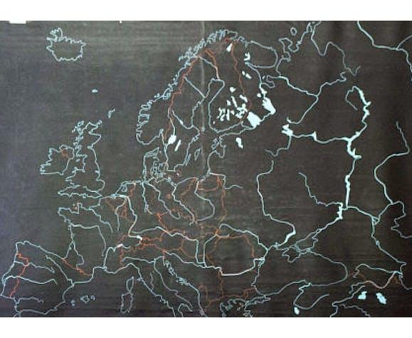 """Plaque d'ardoise mixte et naturelles en caoutchouc pour l'écriture à la craie """"l'europe""""1968"""