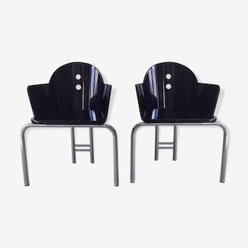 "Pair of armchairs ""Nathalie"" by Nathalie Pasquier Memphis Milano 1987"
