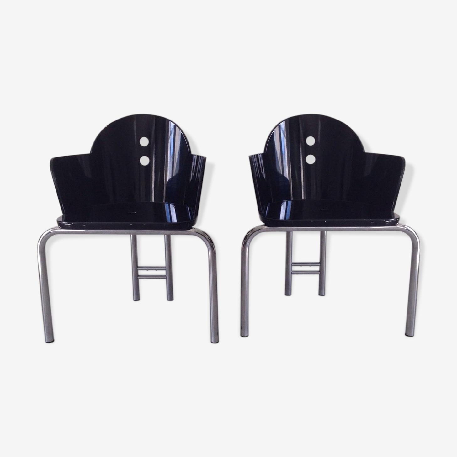 """Paire de fauteuils """"Nathalie"""" de Nathalie du Pasquier Memphis Milano 1987"""