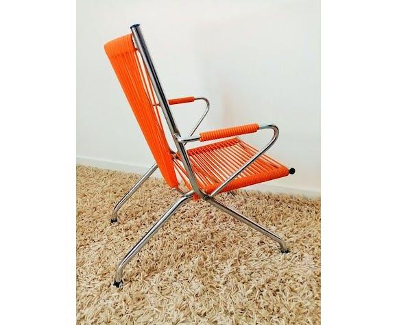 Fauteuil enfant scoubidou orange vintage