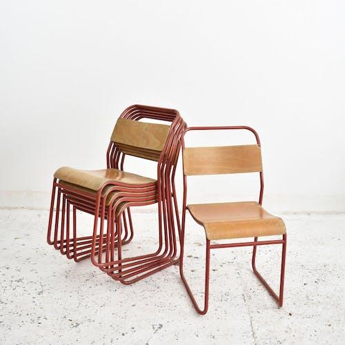 Chaise d'école empilable vintage Pel