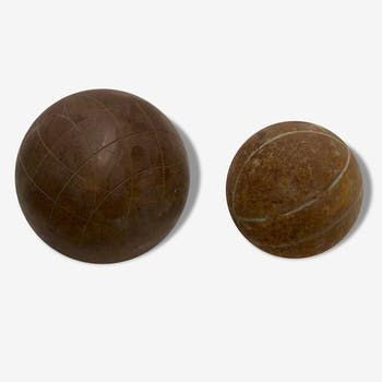 Ball steel of old Lyonnaise game and bocce ball