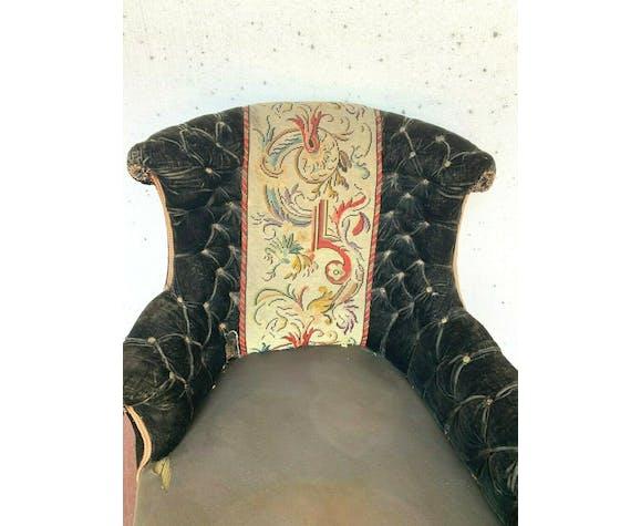 Liseuse Napoléon III tapisserie au point et velours