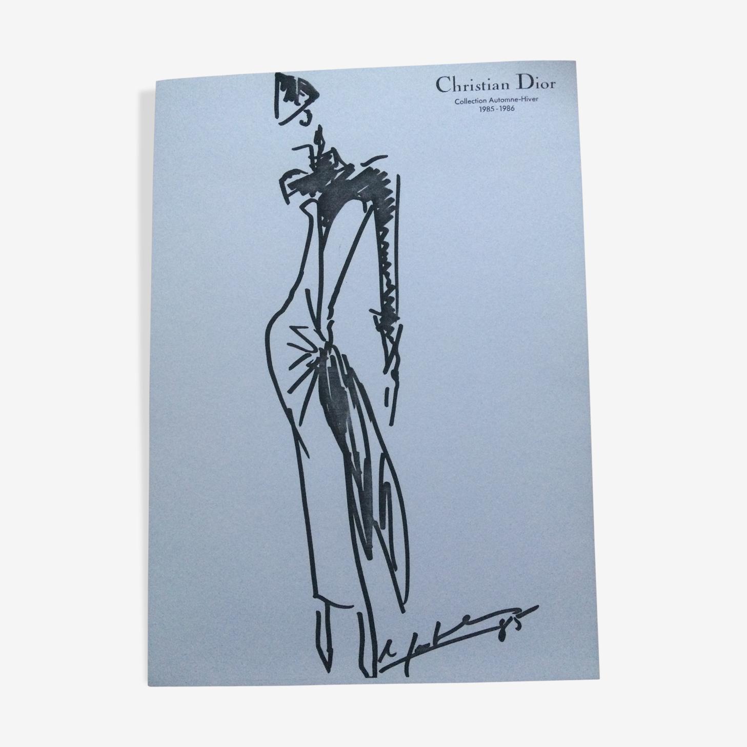 Croquis de mode Christian Dior accompagnée d'une photographie de presse des années 80