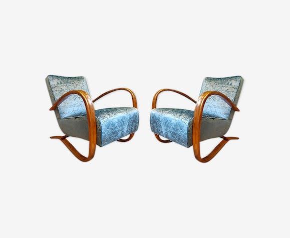 Pair of armchairs Jindrich Halabala Bleus