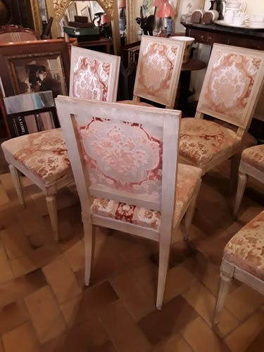 Set of 6 chairs sober wooden with fabric of Louis XVI style