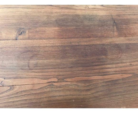 Table ronde rabat bois brut