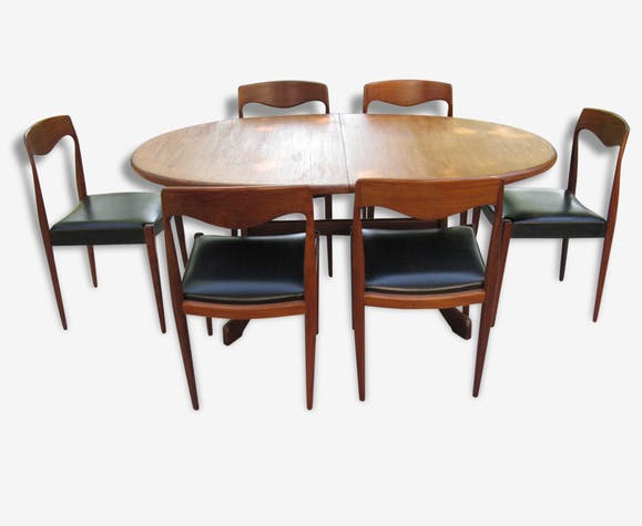 6 Table De En Scandinave Ensemble Et À Manger Teck Chaises Salle oQdCeWrxB