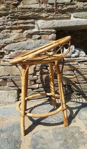 Chaise haute en rotin années 60