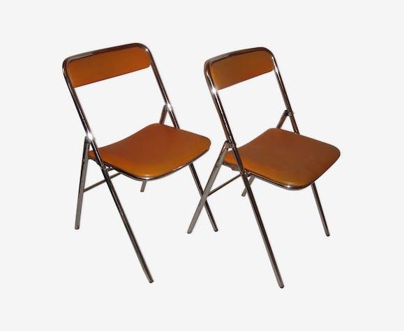 Chaises pliable plichaise de 1970 skaï orange