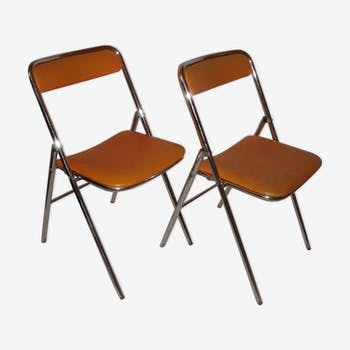 Foldable chairs plichaise of 1970 leatherette orange