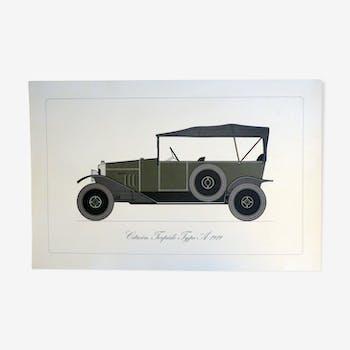 Poster representing the car Citroën Torpédo type A 1919