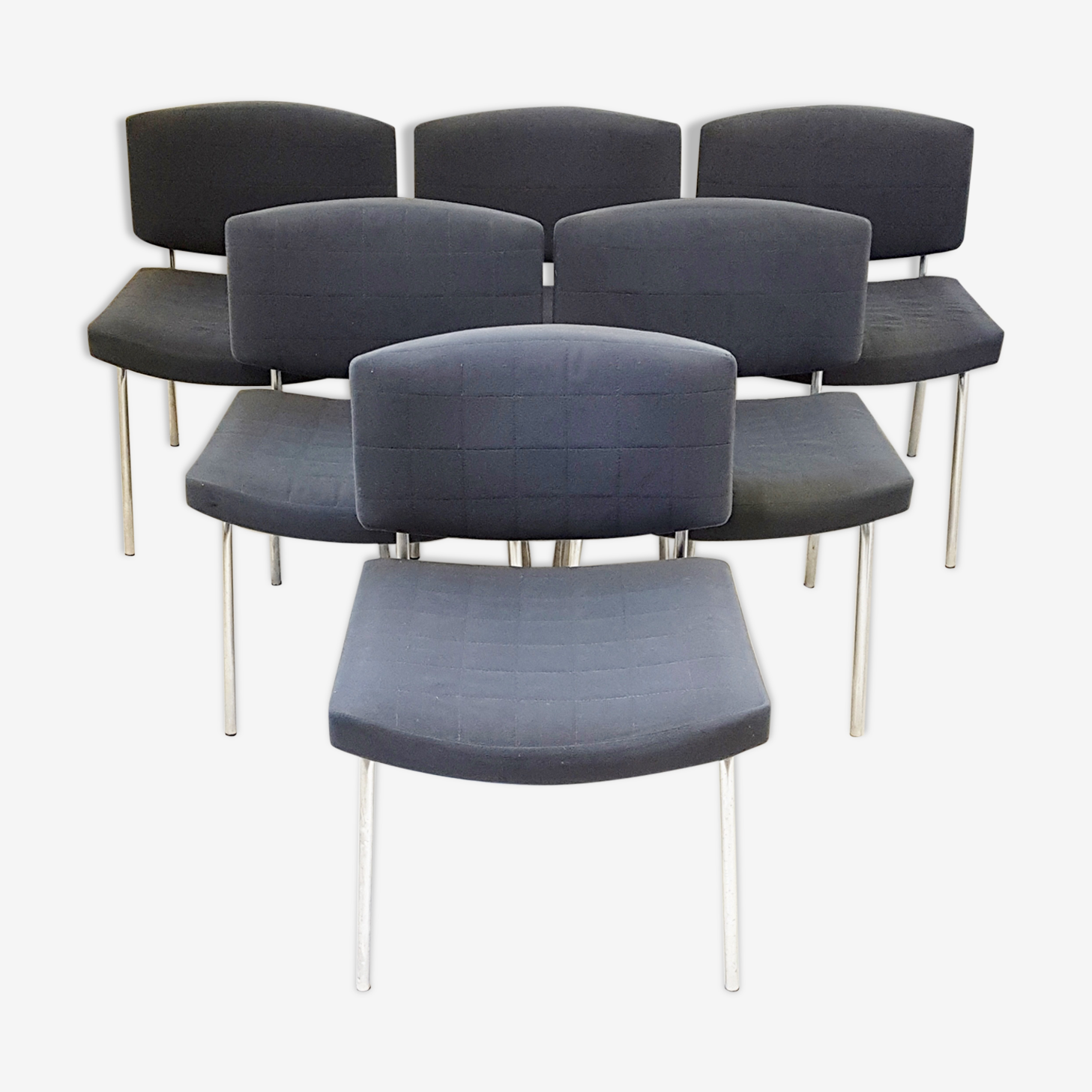 """Set of 6 chairs """"conseil"""" of Pierre Guariche for Meurop 1960"""