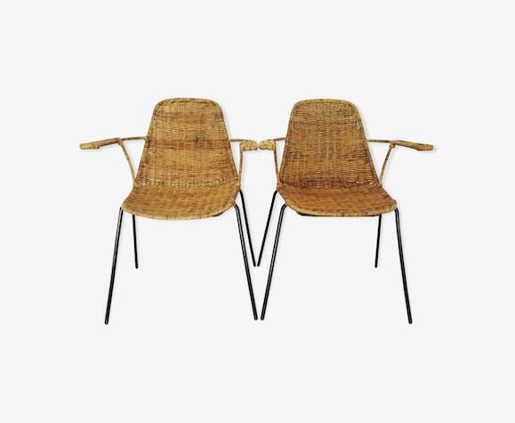 Italian armchairs model Le Panier by Gian Franco Legler