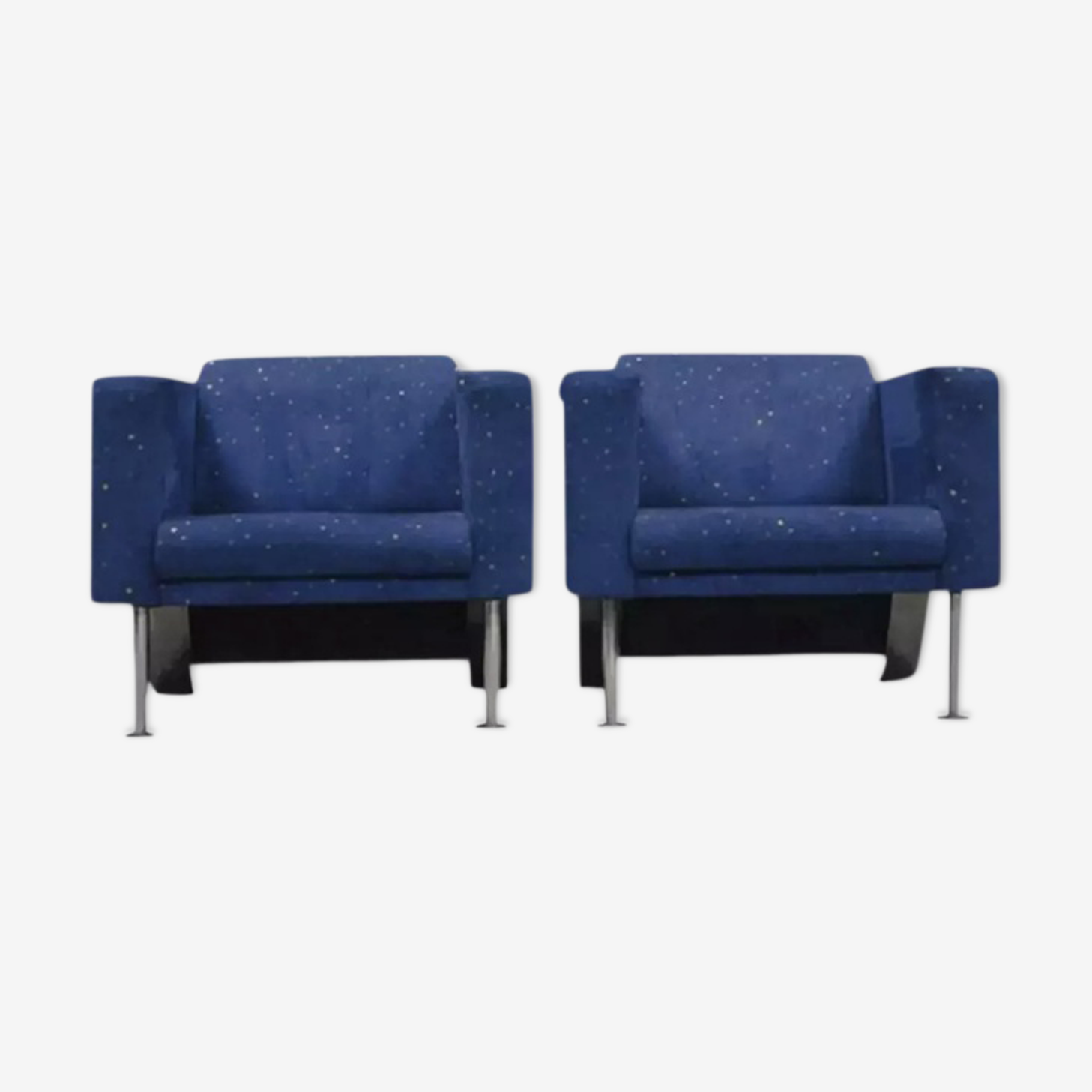 Pair of velvet armchairs, 1970