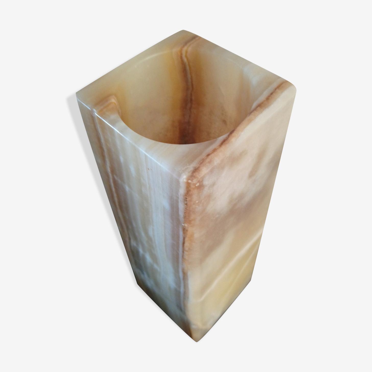 Vase italien quadrangulaire en onyx des années1970