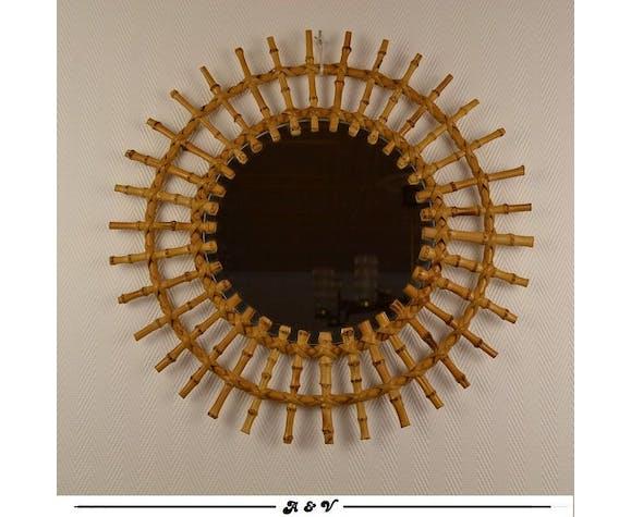 Miroir soleil en rotin et bambou vintage 70 80 46cm