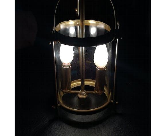 Lanterne en laiton et en verre soufflé