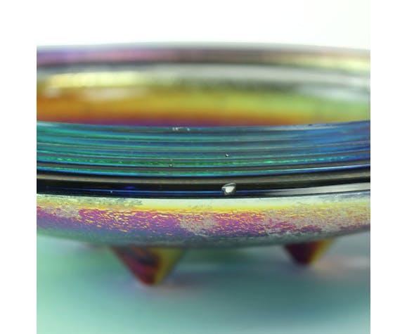 Rare iridescent art glass trinket bowl by Jiri Zemon for Rudolfova Hut