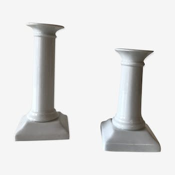 Pair of white ceramic candlesticks
